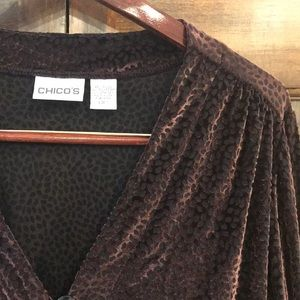 Chico's crushed velvet top with beautiful details